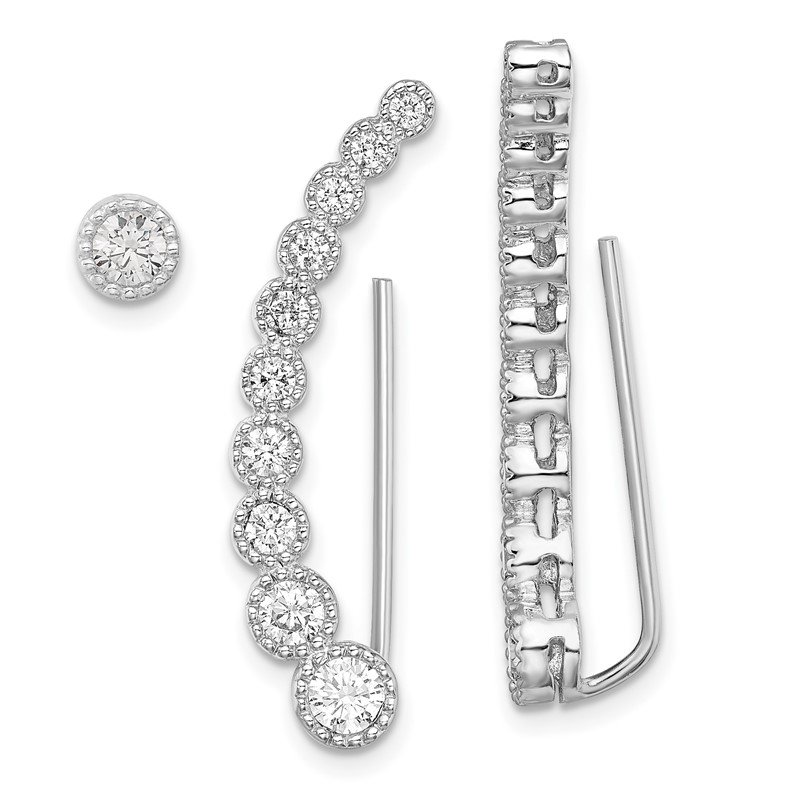 Quality Gold Sterling Silver Rhodium-plated CZ 1 Ear Climber and 1 Stud Earring
