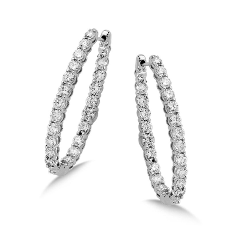 Pave set Diamond Oval Reflection Hoops in 14k White Gold (3 1/3ct. tw.) HI/SI2-SI3