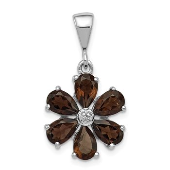 Sterling Silver Rhodium Smoky Qtz & Diamond Flower Pendant