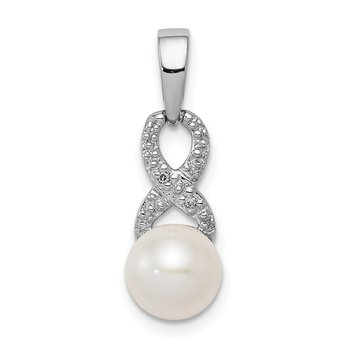 Sterling Silver Rhod Plated Diamond and FW Cultured Pearl Pendant