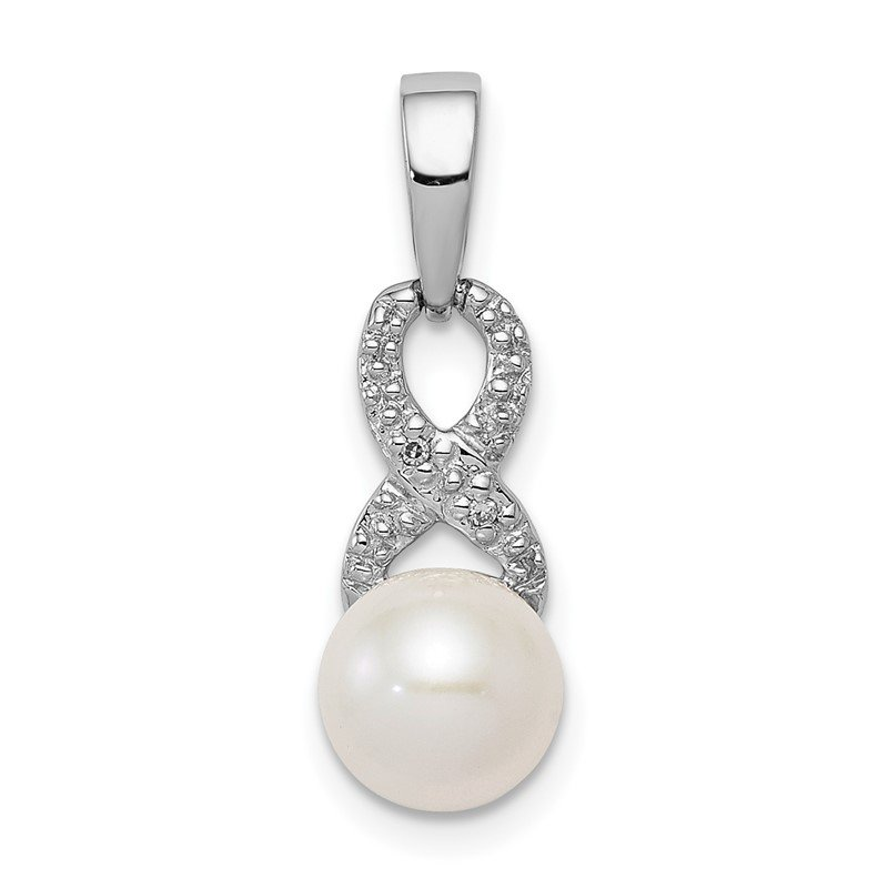 Quality Gold Sterling Silver Rhod Plated Diamond and FW Cultured Pearl Pendant