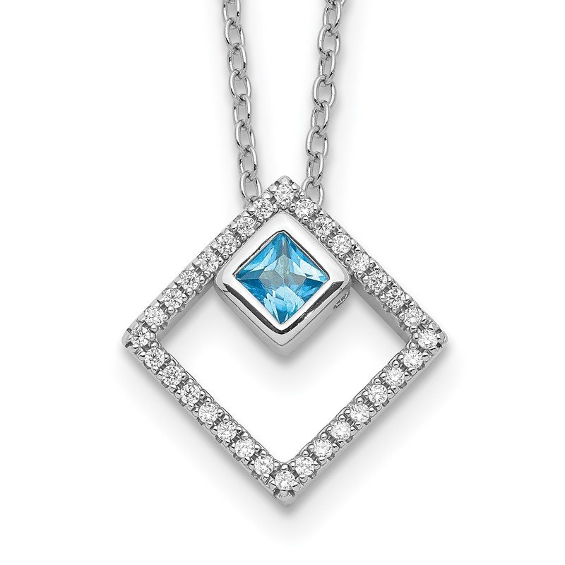 Lester Martin Online Collection Sterling Silver RH-plated 5mm CZ and Spinel w/1in. Ext. Necklace