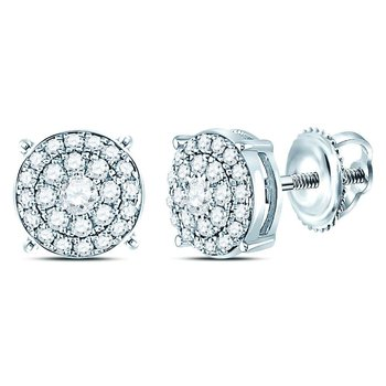 14kt White Gold Womens Round Diamond Concentric Circle Cluster Earrings 1/4 Cttw