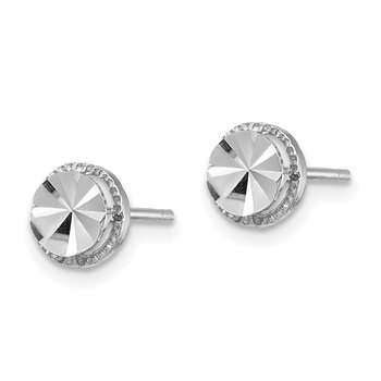 14K White Gold Diamond-Cut Round Post Earrings