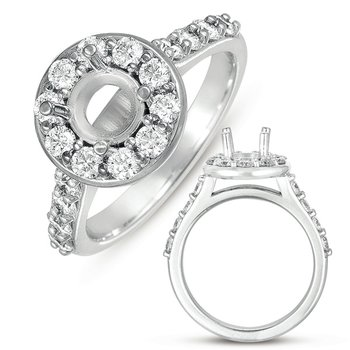 White Gold Halo Ring 3/4 round head