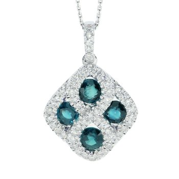 14k White Gold Emerald and .26 ct Diamond Pendant