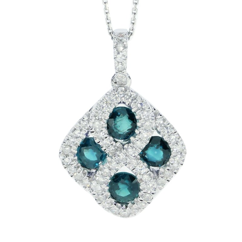 Color Merchants 14k White Gold Emerald and .26 ct Diamond Pendant