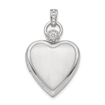 Sterling Silver Rhodium-plate 21mm Diamond Accented Satin Locket