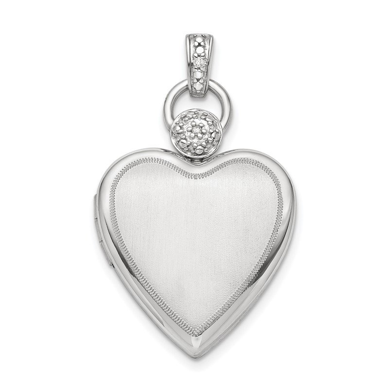 Quality Gold Sterling Silver Rhodium-plate 21mm Diamond Accented Satin Locket