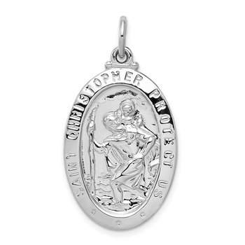 Sterling Silver Rhodium-plated Saint Christopher Medal
