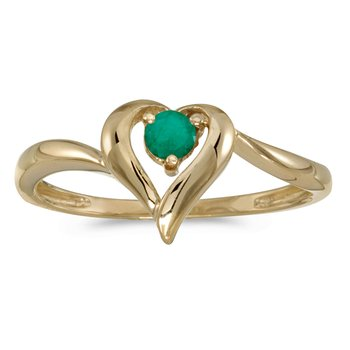 10k Yellow Gold Round Emerald Heart Ring