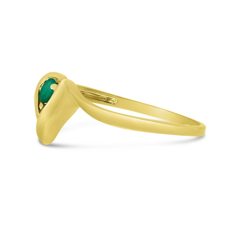 Color Merchants 10k Yellow Gold Round Emerald Heart Ring