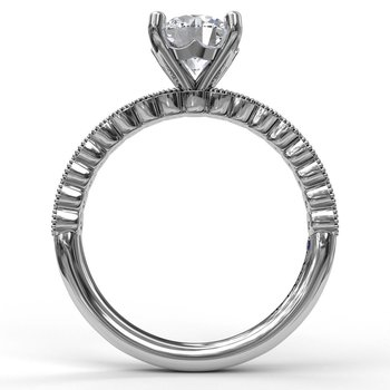Diamond Engagement Ring with a Delicate Milgrain Edge
