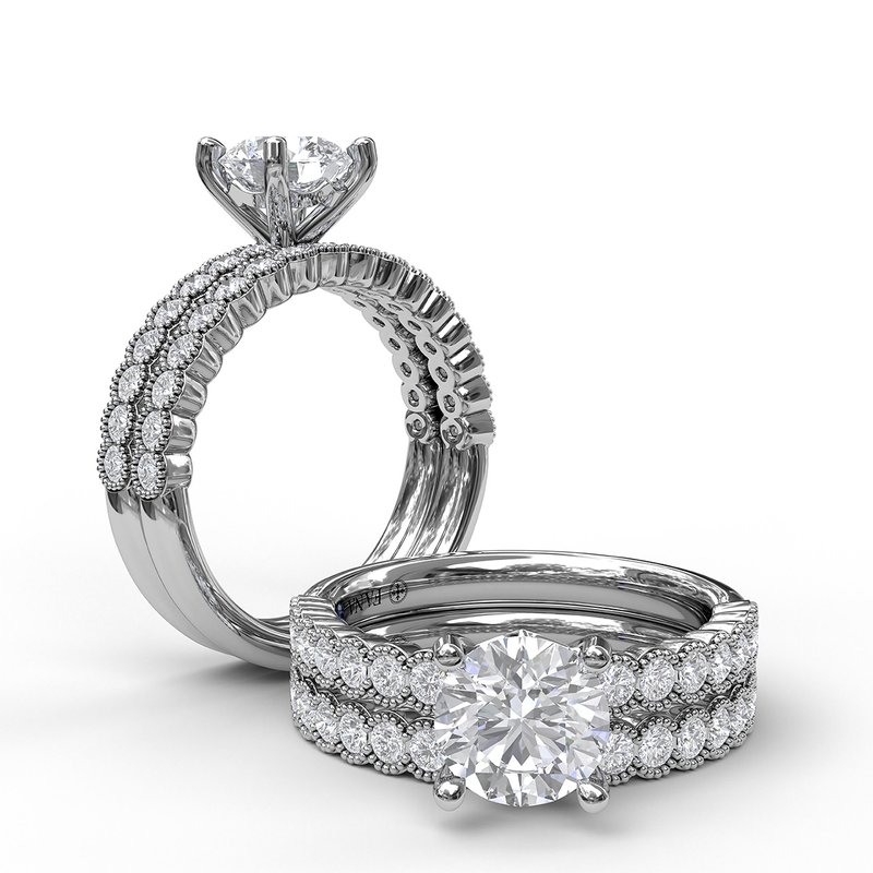 Fana Diamond Engagement Ring with a Delicate Milgrain Edge
