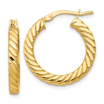 14k Polished Twisted 3mm Hoop Earrings