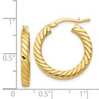 Fine Jewelry by JBD 14k Polished Twisted 3mm Hoop Earrings