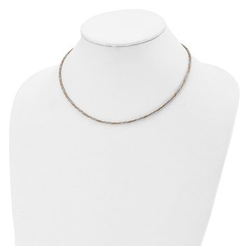Leslie's 14k Two-tone Polished Braided 17in w/2in ext. Necklace