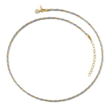Leslie's 14K Two-tone Polished Braided w/2in ext. Necklace