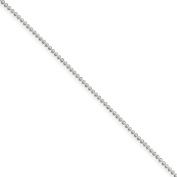 Sterling Silver 1.5mm Beaded Chain Anklet