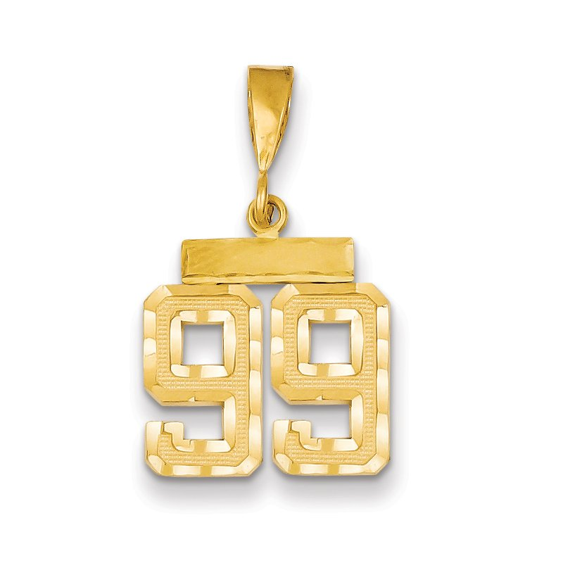 Quality Gold 14k Small Diamond-cut Number 99 Charm