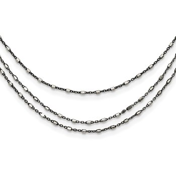 Sterling Silver Ruthenium-plated Multi-chain 3 Strand 18 inch Necklace