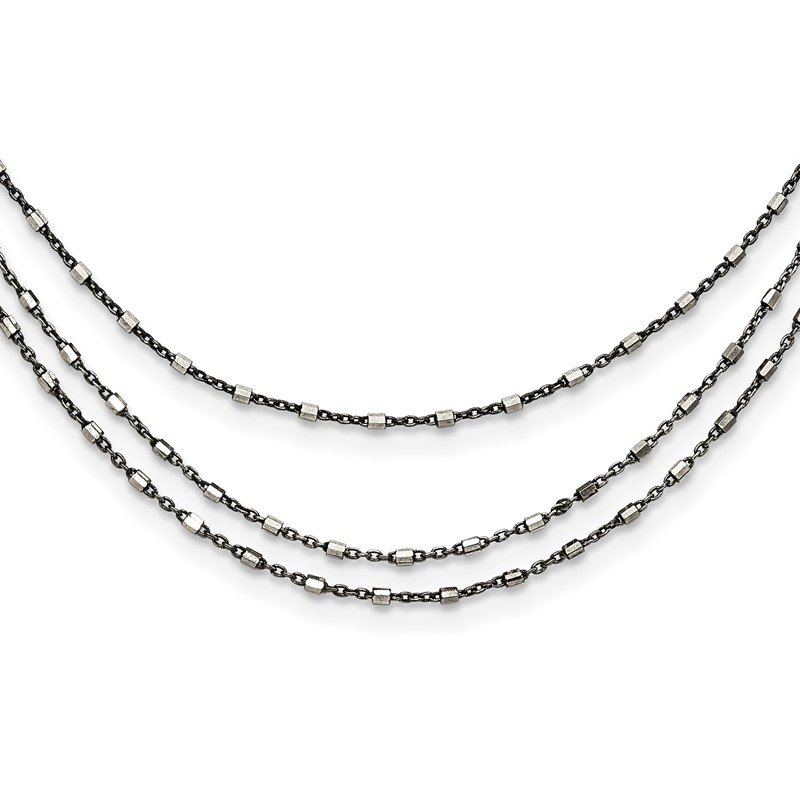 Quality Gold Sterling Silver Ruthenium-plated Multi-chain Necklace