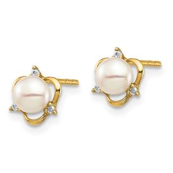 14K Madi K 4-5mm White Button Freshwater Cultured CZ Pearl Post Earrings