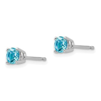 14k White Gold 4mm Blue Topaz Earrings