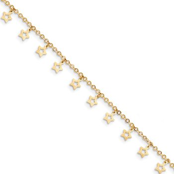14k Gold Polished & Textured Star 9in Plus 1in ext. Anklet