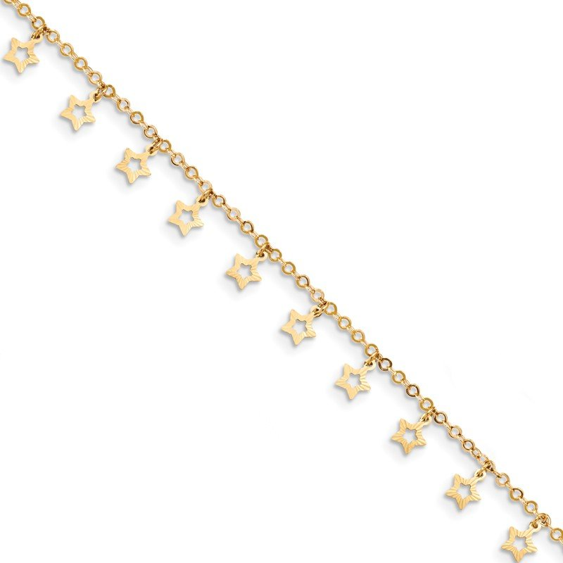 Quality Gold 14k Gold Polished & Textured Star 9in Plus 1in ext. Anklet
