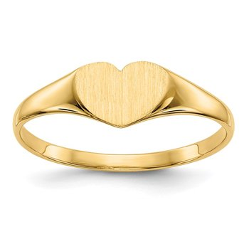 14k 6.0x7.5mm Closed Back Heart Signet Ring