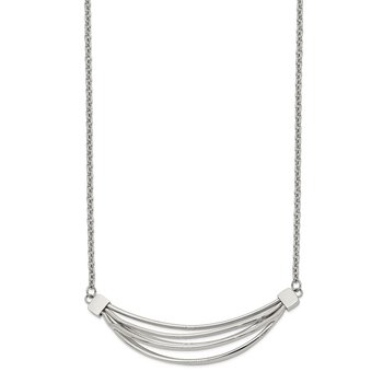 Stainless Steel Polished 3D Curved Bars 20in w/2in ext. Necklace