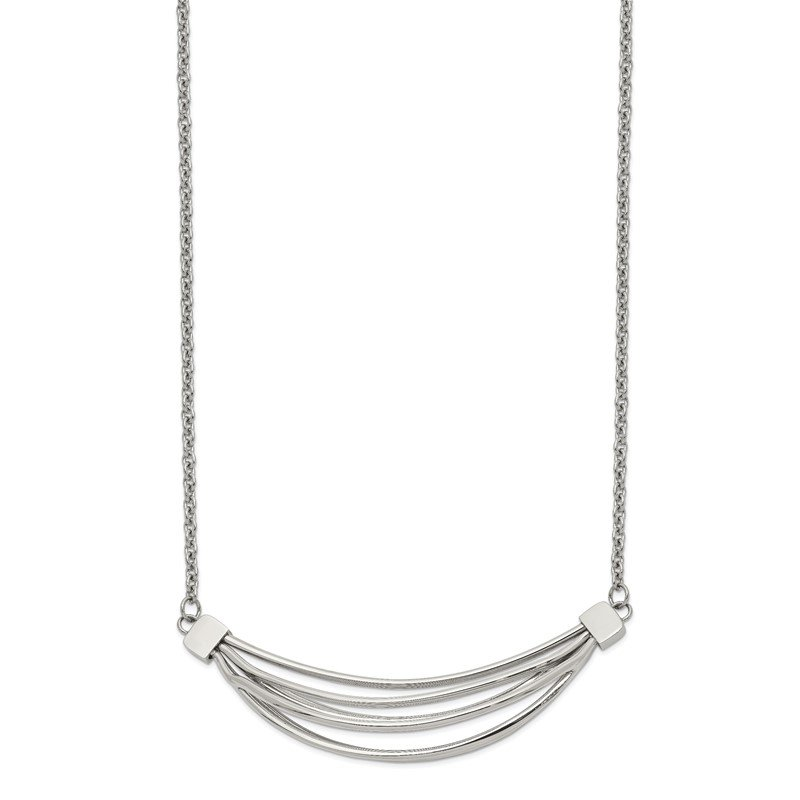 Chisel Stainless Steel Polished 3D Curved Bars 20in w/2in ext. Necklace