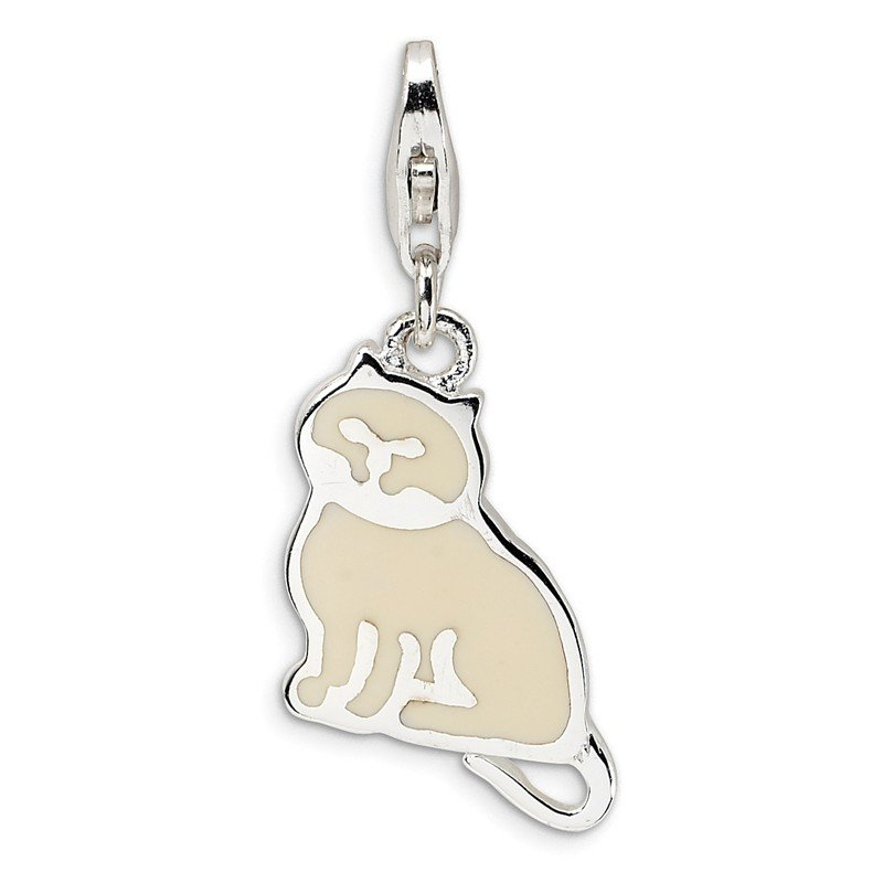 Quality Gold Sterling Silver Polished Cat w/Lobster Clasp Charm