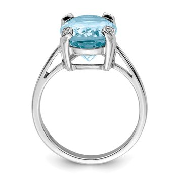 Sterling Silver Rhodium Light Swiss Blue Topaz Diamond Ring
