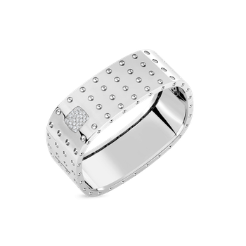 4 Row Square Bangle With Diamonds &Ndash; 18K White Gold, S