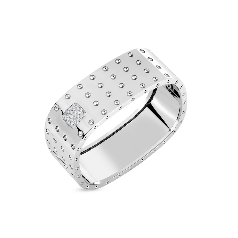 Roberto Coin 4 Row Square Bangle With Diamonds &Ndash; 18K White Gold, S
