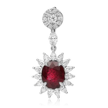 Ruby & Diamond Star Burst Earrings