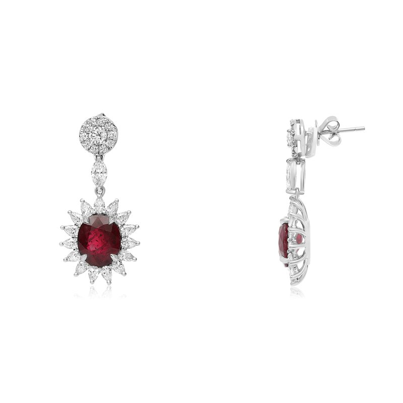 Roman & Jules Ruby & Diamond Star Burst Earrings