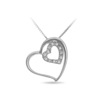 925 SS Diamond Set of Two Hearts Pendant in Prong Setting