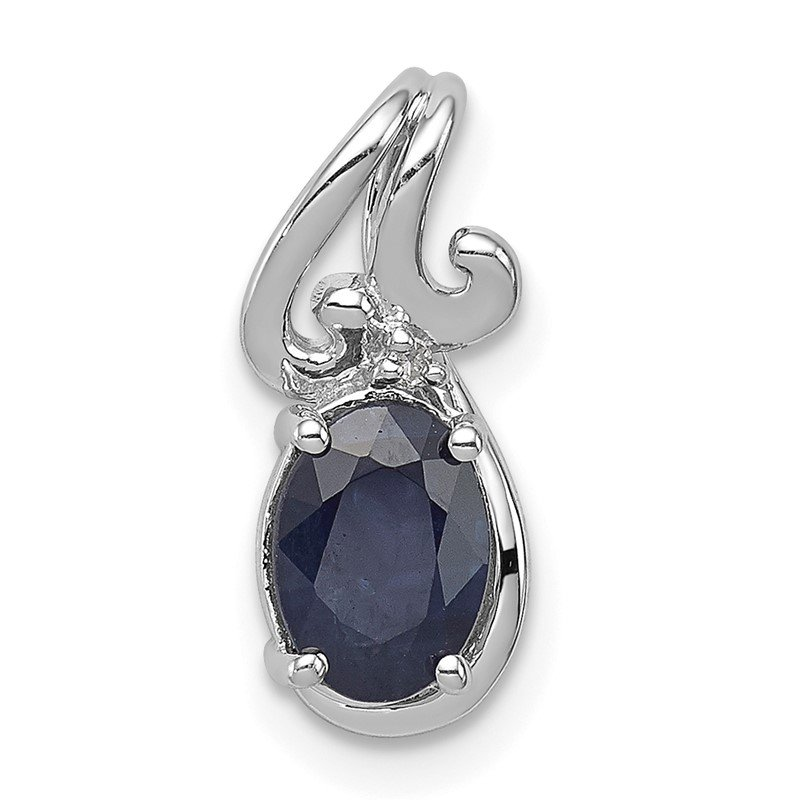 Lester Martin Online Collection Sterling Silver Rhodium Plated Diamond & Sapphire Oval Pendant