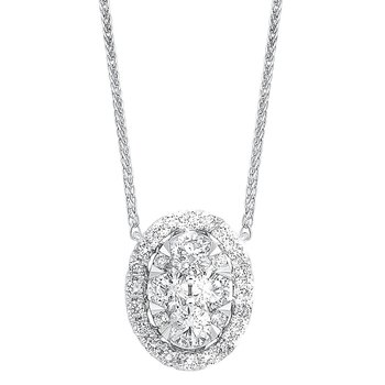 Diamond Starburst Eternity Oval Cluster Pendant Necklace in 14k White Gold (1/3 ctw)