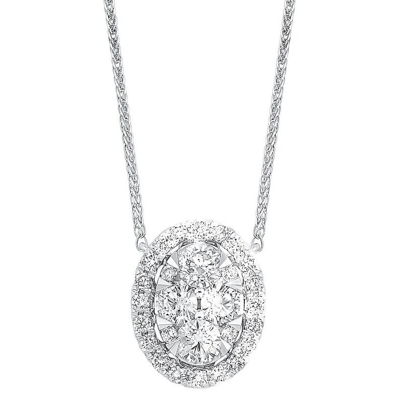 Gems One Diamond Starburst Eternity Oval Cluster Pendant Necklace in 14k White Gold (1/3 ctw)