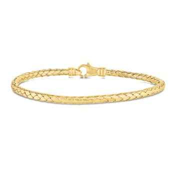 14K Gold Thin Weaved Bangle