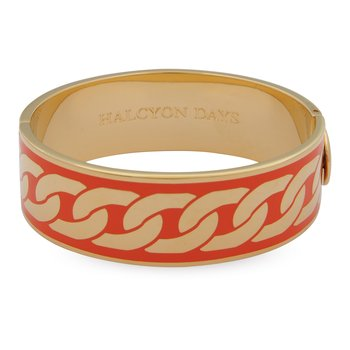Curb Chain Orange & Gold Bangle