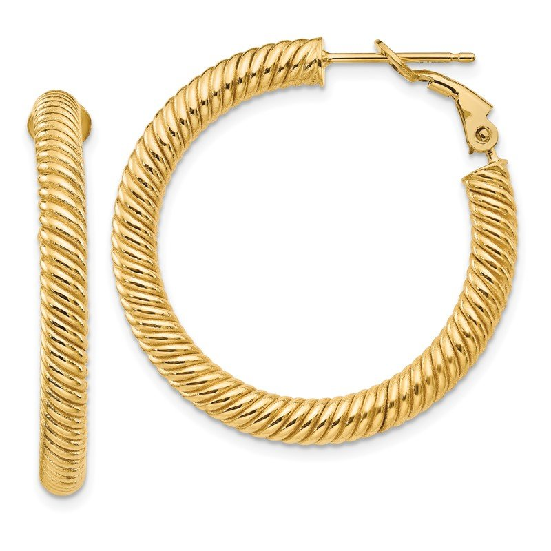 Quality Gold 14k 4x25mm Twisted Round Omega Back Hoop Earrings