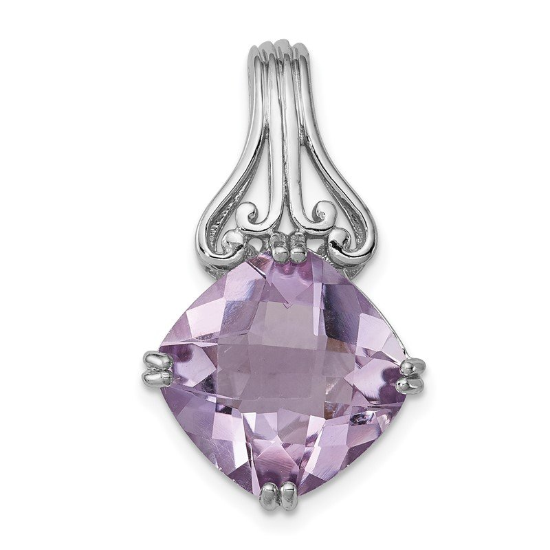 J.F. Kruse Signature Collection Sterling Silver Rhodium-plated Pink Quartz Pendant