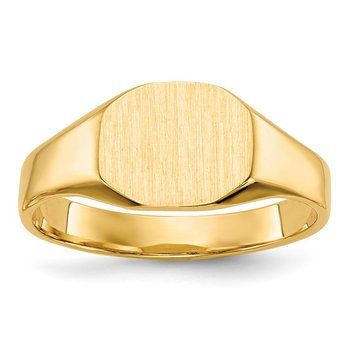 14k 8.0x6.25mm Closed Back Signet Ring