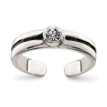 Sterling Silver CZ Antiqued Toe Ring