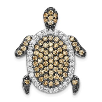 Sterling Silver White & Champagne CZ Turtle Slide